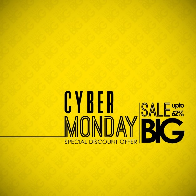 Yellow background, cyber monday, sales