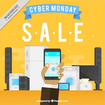 Yellow background of cyber monday shopping