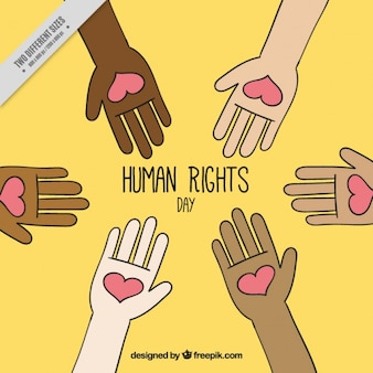 Yellow background for human rights day with hands holding hearts