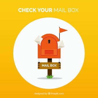Yellow background of letterbox with envelopes