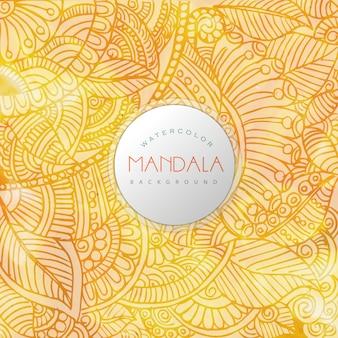 黄色の背景マンダラのデザイン 無料ベクター