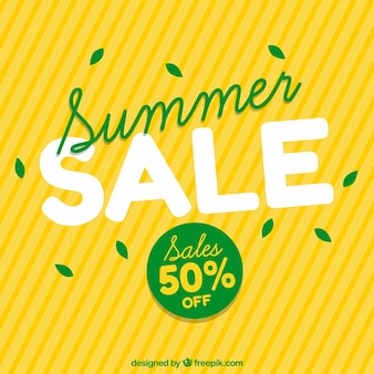 Yellow background of summer sales