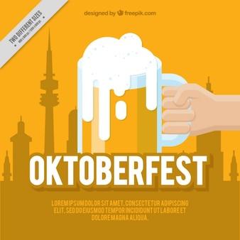 Yellow background oktoberfest in flat design
