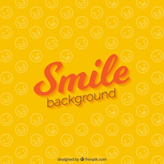 Yellow background of smiling faces