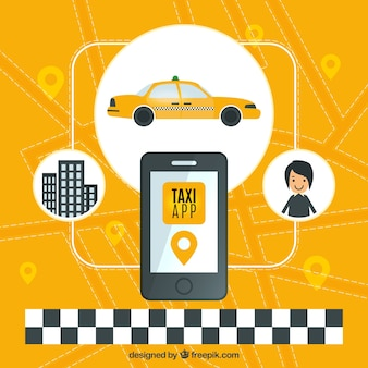Yellow background of taxi application