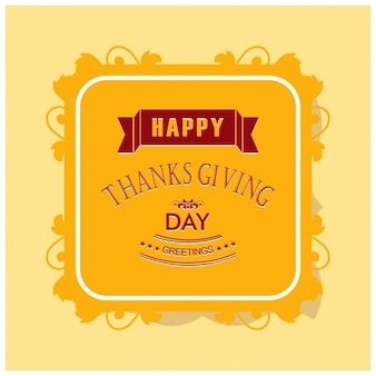 Yellow background with a label for the thanksgiving day