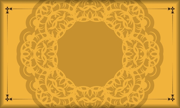Yellow background with abstract brown ornament and place for logo or text