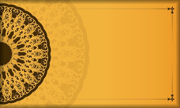 Yellow background with abstract brown pattern for design under your text