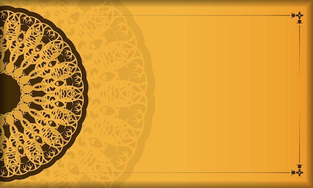 Желтый фон с абстрактным коричневым узором для дизайна под ваш текст