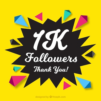 Yellow background with abstract shapes of 1k followers