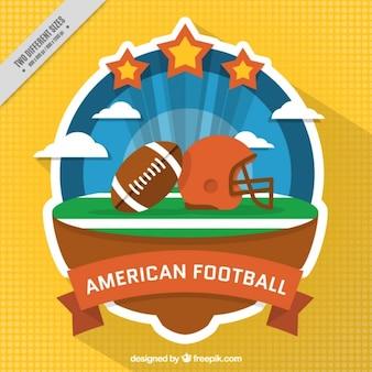アメリカンフットボールのステッカーと黄色の背景