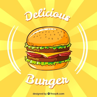 Yellow background with appetizing burger in flat design