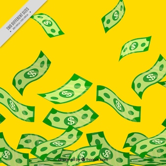 Yellow background with banknotes