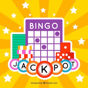 Yellow background with bingo ball and dice