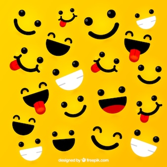 Yellow background with expressive faces