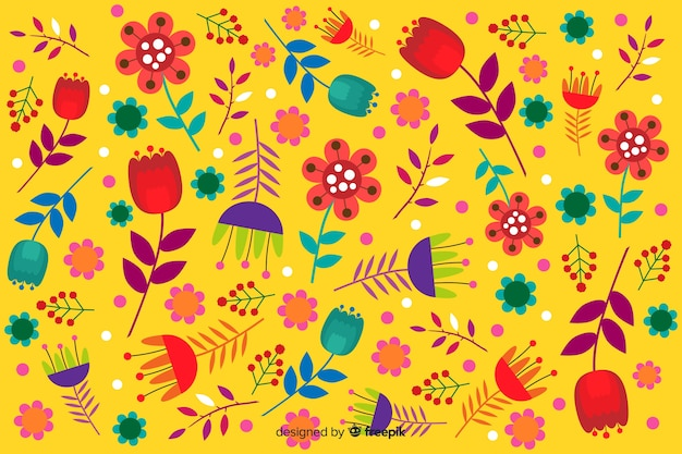 Yellow background with floral design