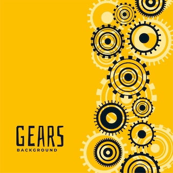 Yellow background with gears and cog wheels