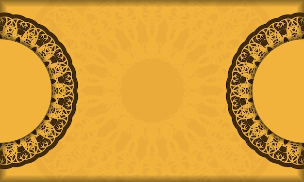 Yellow background with greek brown ornament for design under your text