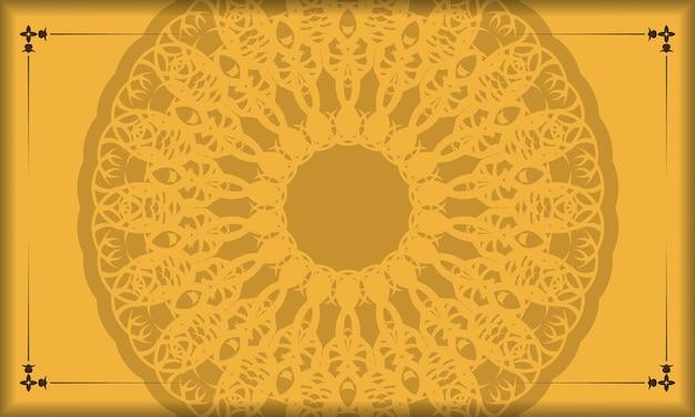 Желтый фон с греческим коричневым узором для дизайна под ваш текст