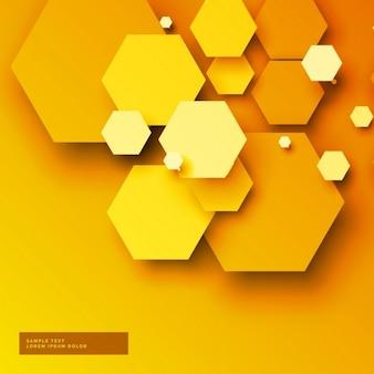 Sfondo giallo con 3d forme esagonali