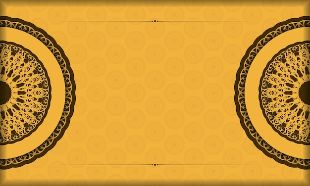 Yellow background with luxurious brown ornamentation and space for text