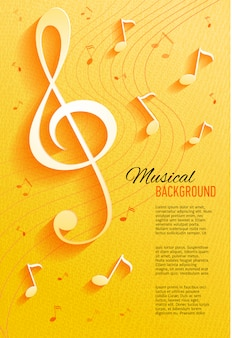 Yellow background with music notes and key.