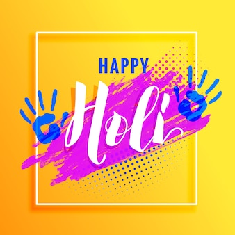 Yellow background with paint hand and colorful paint for holi festival
