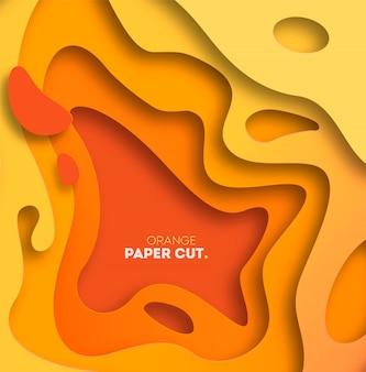 紙で黄色の背景は、形状をカットしました。図。 3d抽象彫刻アート。