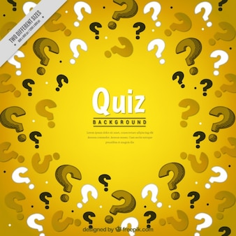 Yellow background with question marks