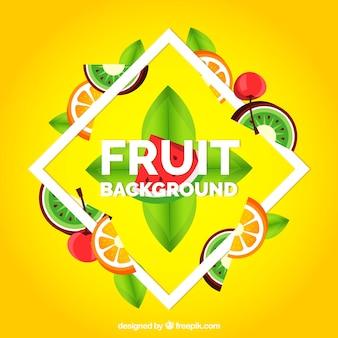 現実的な果物と黄色の背景
