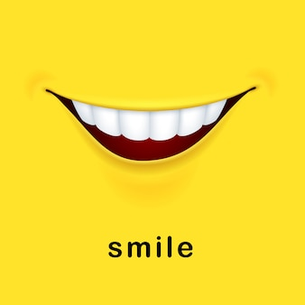 Yellow background with realistic smiling mouth