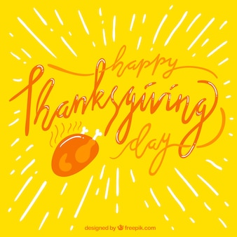 Yellow background with thanksgiving lettering