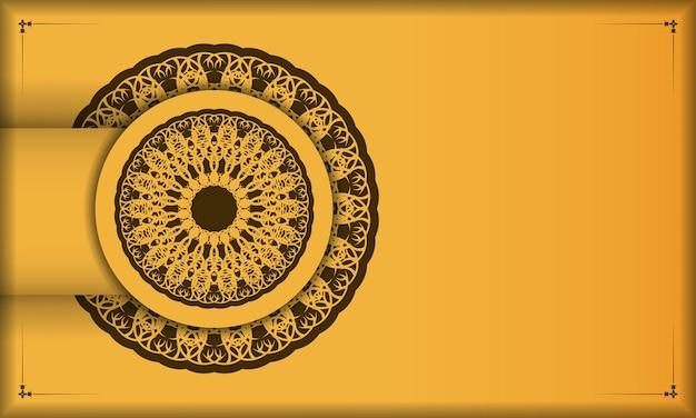 Желтый фон с винтажным коричневым орнаментом для дизайна под ваш текст