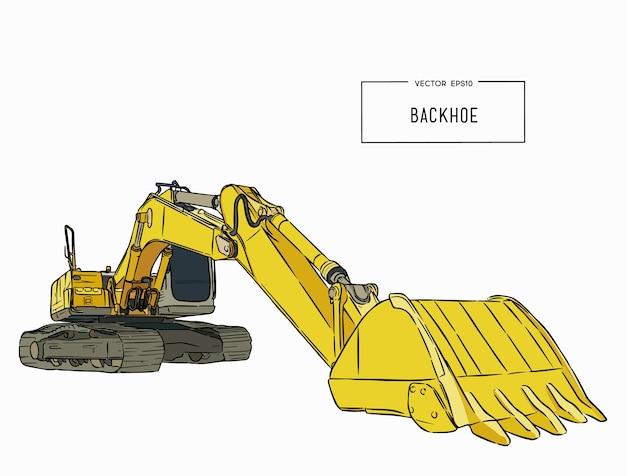 Yellow backhoe loader