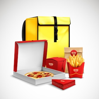 Yellow bag food delivery realistic composition with pizza in carton fried potato and bakery