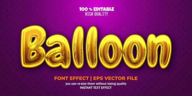 노란색 풍선 텍스트 효과 편집 가능한 텍스트 스타일