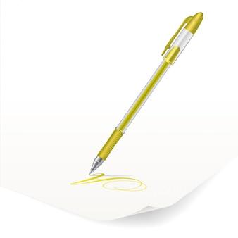 Yellow ballpoint pen
