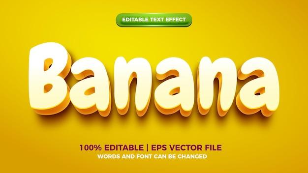 노란색 바나나 3d 만화 편집 가능한 텍스트 효과