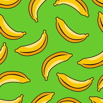 Yellow banana seamless pattern with green background