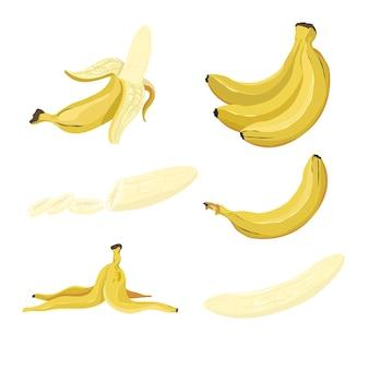 노란색 바나나 일러스트 세트