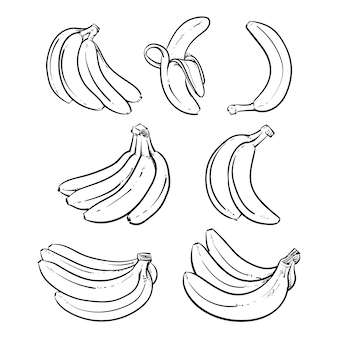 Yellow bananas vector illustration on white background.