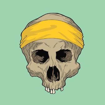 黄色のバンダナの頭蓋骨