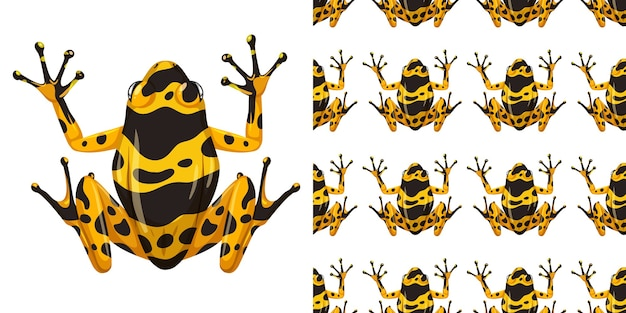 Ядовитая лягушка дротик с желтыми полосами изолирована на белом фоне и бесшовные