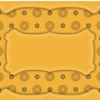 Желтый баннер с коричневым орнаментом мандалы и местом для вашего логотипа