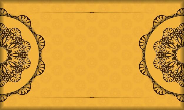 Желтый баннер с греческим коричневым узором и местом для логотипа или текста