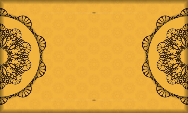 Yellow banner with greek brown pattern and place for logo or text