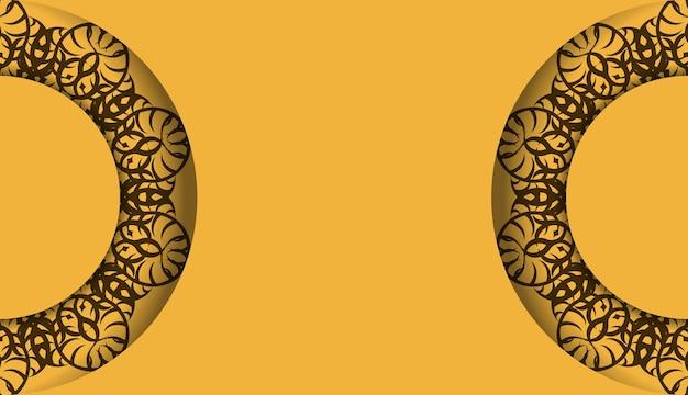 Желтый баннер с индийским коричневым узором и место для вашего логотипа