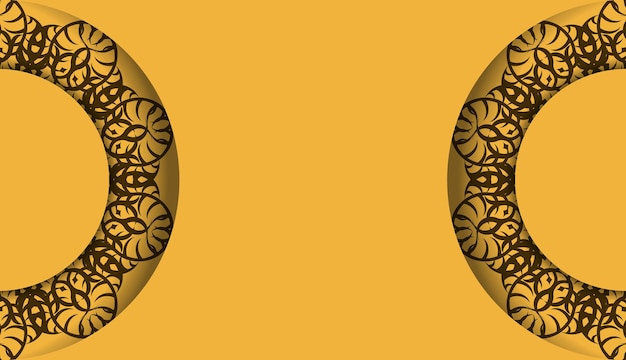 Yellow banner with indian brown pattern and place for your logo