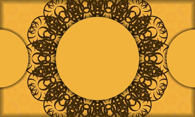 Yellow banner with mandala brown pattern for logo design