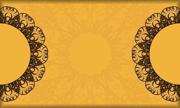 Желтый баннер со старым коричневым орнаментом и пространством для логотипа